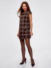 Платье клетчатое с карманами и воротником-хомутом oodji для женщины (коричневый), 11910058-2/37812/3733C - вид 6