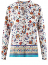 Блузка прямого силуэта с V-образным вырезом oodji #SECTION_NAME# (белый), 21400394-3M/24681/1219E