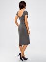 Платье миди с вырезом на спине oodji #SECTION_NAME# (серый), 24001104-5B/47420/2500M - вид 3