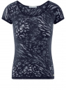 Футболка из ткани деворе oodji для женщины (синий), 24707002-1/45533/7900A