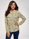 Блузка вискозная А-образного силуэта oodji #SECTION_NAME# (желтый), 21411113-1B/48458/5070F - вид 2