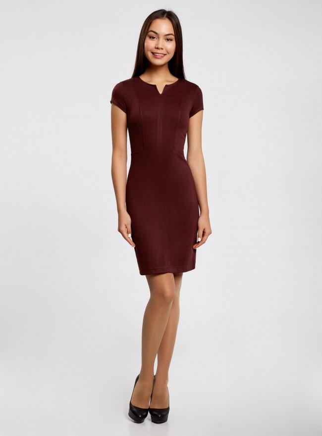 Платье жаккардовое со скрытой молнией и отстрочками oodji для женщины (красный), 14011010/45950/2949J