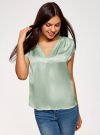 Блузка с коротким рукавом и V-образным вырезом oodji для женщины (зеленый), 11411100/45348/6500N - вид 2