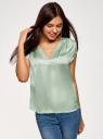 Блузка с коротким рукавом и V-образным вырезом oodji для женщины (зеленый), 11411100/45348/6500N