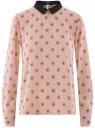 Блузка прямого силуэта с отложным воротником oodji #SECTION_NAME# (розовый), 11411181/43414/4029U