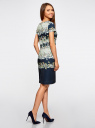 Платье на молнии приталенное oodji #SECTION_NAME# (синий), 24011019-1/45344/7930F - вид 3