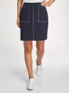 Юбка-трапеция с накладными карманами oodji #SECTION_NAME# (синий), 11603029/49877/7900N - вид 2