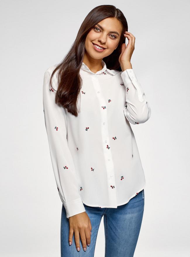 Блузка прямого силуэта с вышивкой oodji #SECTION_NAME# (белый), 11411134-2B/49474/1245O