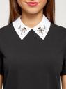 Блузка прямого силуэта с отделкой кристаллами oodji #SECTION_NAME# (черный), 14701103/48053/2910B - вид 4