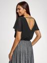 Блузка свободного силуэта с коротким рукавом oodji #SECTION_NAME# (черный), 11401284-1/17358/2900N - вид 3