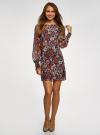 Платье прямого силуэта из струящейся ткани oodji #SECTION_NAME# (коричневый), 11900150-13/13632/3137F - вид 2