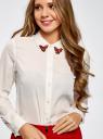 Блузка прямого силуэта с декором на воротнике oodji для женщины (белый), 21411097/43414/1233D