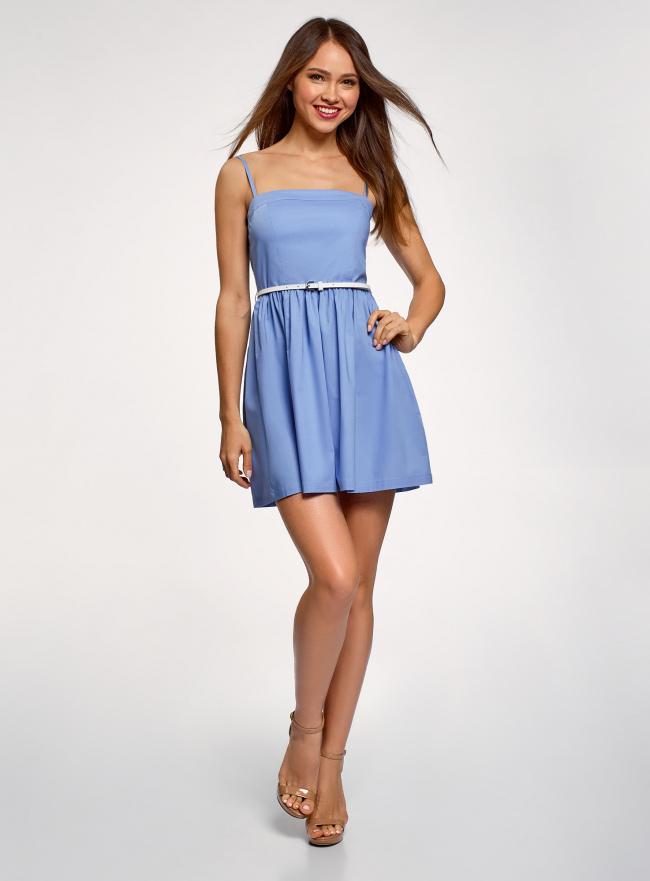 Платье-бандо из хлопка oodji для женщины (синий), 11902101-6B/14885/7001N