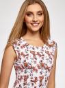 Платье трикотажное с круглым вырезом oodji #SECTION_NAME# (белый), 14008014-6B/46943/1245F - вид 4