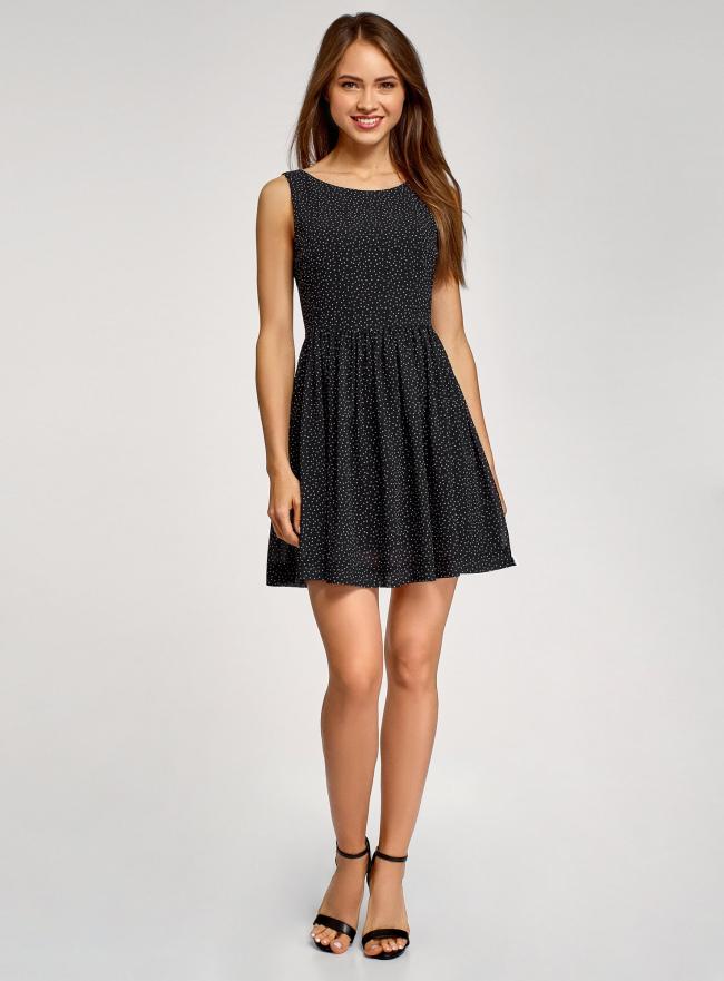 Платье принтованное с бантом на спине oodji для женщины (черный), 11900181/35271/2910D