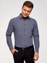 Рубашка принтованная из хлопка oodji для мужчины (синий), 3L110308M/19370N/7510F