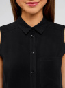 Топ вискозный с нагрудным карманом oodji для женщины (черный), 11411108B/26346/2900N