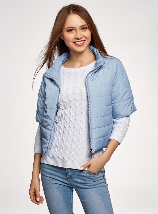 Куртка стеганая с короткими рукавами oodji #SECTION_NAME# (синий), 10207003/45420/7001N