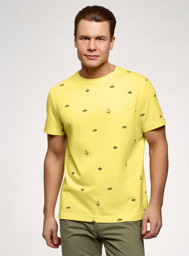 Футболка хлопковая с принтом oodji для мужчины (желтый), 5L641001I-15/44135N/5279G