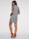 Платье трикотажное в полоску oodji для женщины (белый), 24001112/18110/1279S