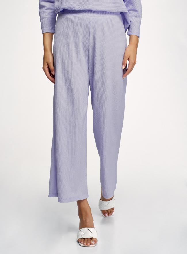 Брюки широкие с поясом на резинке oodji для женщины (фиолетовый), 18601020/50539/8000N