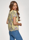Блузка свободного силуэта с вырезом-капелькой oodji для женщины (желтый), 11411157/46633/5280F