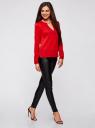 Блузка с вырезом-капелькой и металлическим декором oodji #SECTION_NAME# (красный), 21400396/38580/4500N - вид 6