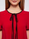 Блузка с коротким рукавом и контрастной отделкой oodji #SECTION_NAME# (красный), 11401254/42405/4500N - вид 4