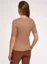 Джемпер в рубчик с круглым вырезом oodji для женщины (бежевый), 14701075/46412/3500N