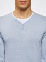 Пуловер с хлопковой вставкой на груди oodji #SECTION_NAME# (синий), 4B212006M/39245N/7010B - вид 4