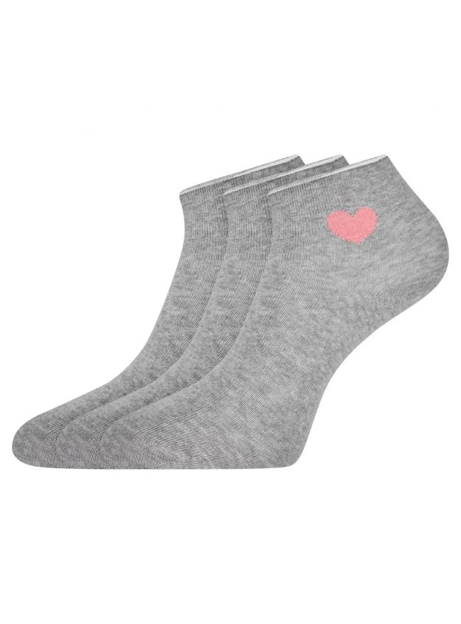 Комплект из трех пар хлопковых носков oodji для женщины (серый), 57102705T3/48022/14