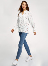 Блузка вискозная с нагрудными карманами oodji #SECTION_NAME# (белый), 11411201/24681/1229O - вид 6
