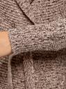 """Кардиган вязаный """"в косичку"""" с поясом oodji для женщины (бежевый), 63205138-7/31347/3339M"""