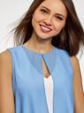 Блузка двуцветная многослойная oodji #SECTION_NAME# (синий), 14901418/26546/1202B - вид 4