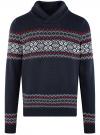 Пуловер вязаный с отложным воротником oodji для мужчины (синий), 4L205025M/25365N/7945N