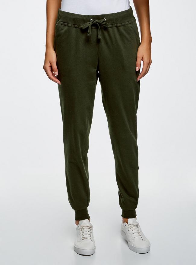 Брюки трикотажные на завязках oodji для женщины (зеленый), 16701042-1B/46919/6800N