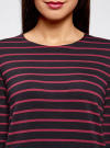 Платье трикотажное в полоску oodji #SECTION_NAME# (синий), 14001162-1/43603/7949S - вид 4