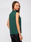 Топ из струящейся ткани с воланами oodji для женщины (зеленый), 21411108/36215/6E12D - вид 3