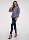 Блузка базовая из струящейся ткани oodji для женщины (синий), 11400368-9B/36215/7970F