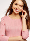 Платье в рубчик с рукавом 3/4 oodji #SECTION_NAME# (розовый), 14001196/46412/4101N - вид 4