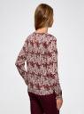 Блузка с вырезом-капелькой и металлическим декором oodji #SECTION_NAME# (красный), 21400396/38580/4912O - вид 3
