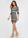 Платье трикотажное с этническим принтом oodji #SECTION_NAME# (разноцветный), 14001064-3/35468/3079J - вид 6