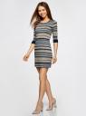 Платье трикотажное с этническим принтом oodji для женщины (разноцветный), 14001064-3/35468/3079J