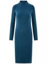 Платье трикотажное с воротником-стойкой oodji для женщины (синий), 14011035-2B/48037/7901N