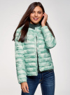 Куртка стеганая с круглым вырезом oodji #SECTION_NAME# (зеленый), 10204040-1B/42257/6560O - вид 2