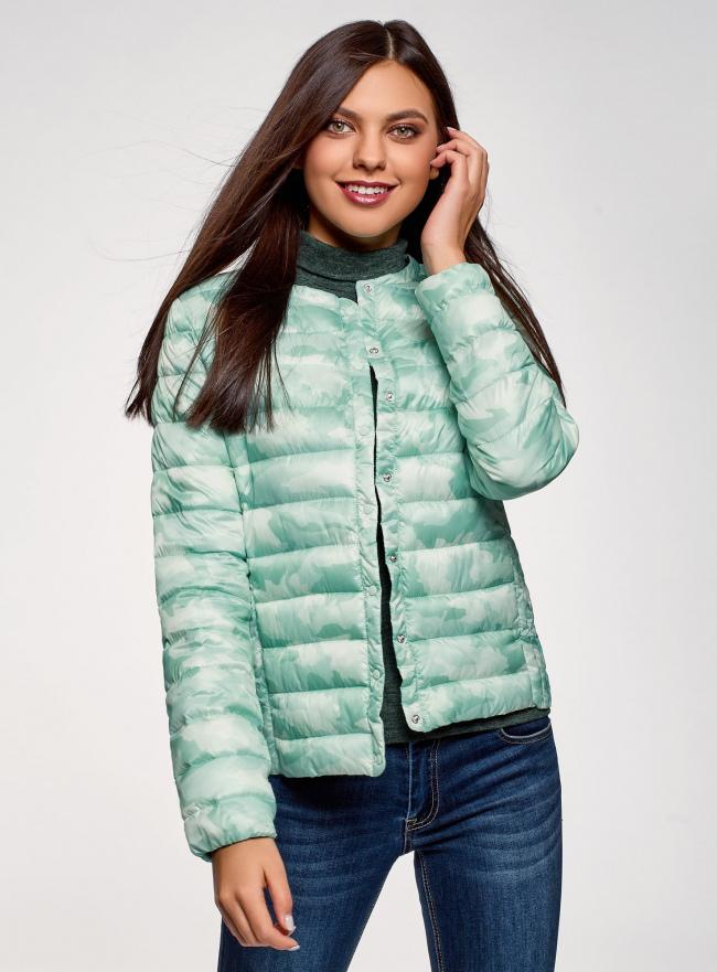 Куртка стеганая с круглым вырезом oodji #SECTION_NAME# (зеленый), 10204040-1B/42257/6560O