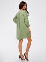Платье вискозное с вышивкой и декоративными завязками oodji #SECTION_NAME# (зеленый), 21914003/33471/6200N - вид 3