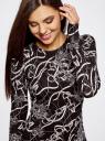 Платье трикотажное облегающего силуэта oodji #SECTION_NAME# (черный), 14000171/46148/2930O - вид 4