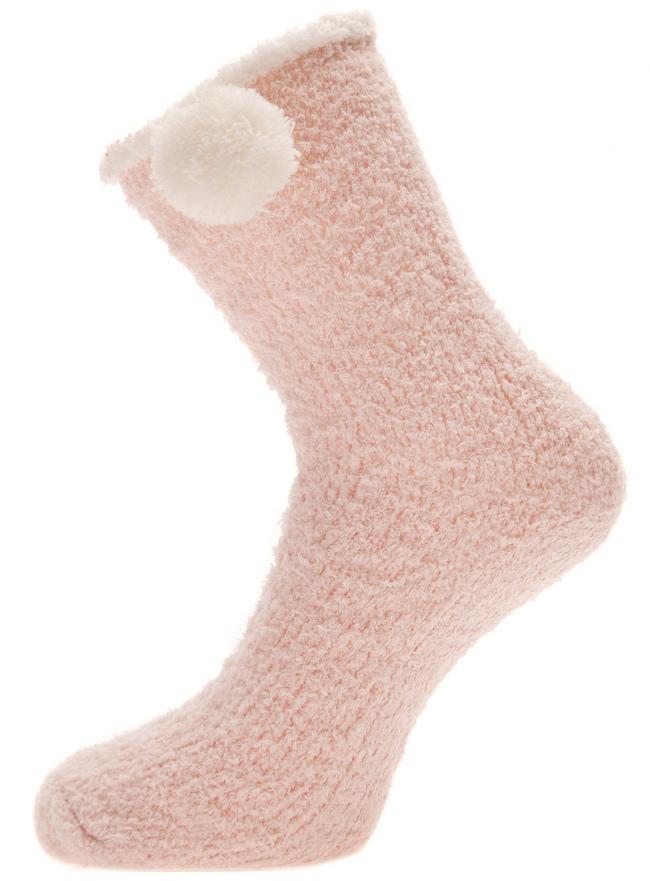 Носки высокие с контрастной отделкой oodji для женщины (розовый), 57102440/18457/4010B