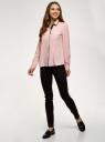 Блузка свободного силуэта из струящейся ткани oodji для женщины (розовый), 11401282/46123/4029B